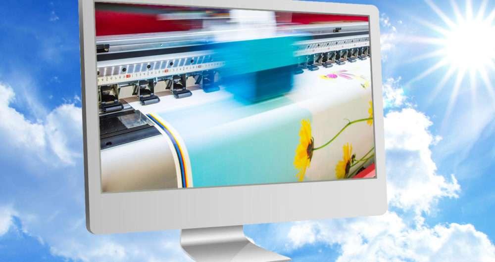Photo of digital printing press on monitor