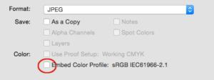 PHotoshop color profile dialog box