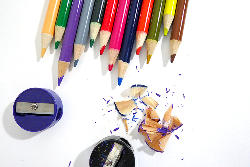 Colored pencils and sharpeners